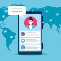 medicina en línea, doctora consulta en teléfono inteligente en línea, pandemia de covid 19 vector