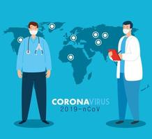 doctors around the world wearing face mask fighting for coronavirus, covid 19 on world map vector