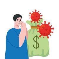 coronavirus con bolsa de dinero, hombre triste, que simboliza la crisis económica del covid 19 vector