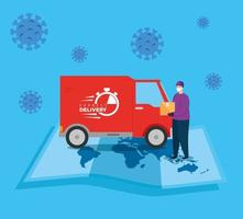 delivery of goods during the prevention of coronavirus, courier worker using face mask with delivery truck transportation vector