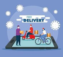 delivery of goods during the prevention of coronavirus, app smartphone with courier workers using face mask vector