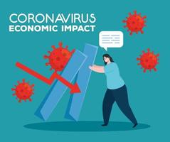 coronavirus 2019 ncov impact global economy, covid 19 virus make down economy, world economic impact covid 19, woman with infographic down vector