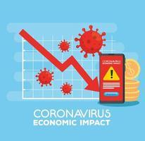 coronavirus 2019 ncov impact global economy, covid 19 virus make down economy, world economic impact covid 19, statistic business and icons down vector