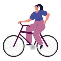 mujer en bicicleta, mujer joven en bicicleta, actividad deportiva