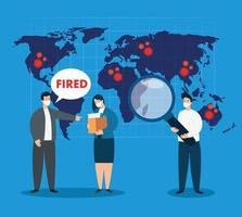 business people fired of work for covid 19 pandemic vector