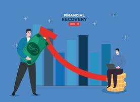 global financial recovery of market after covid 19, men with business statistic and icons vector