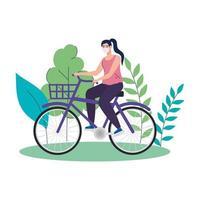 Mujer en bicicleta con máscara protectora médica en el paisaje natural durante la pandemia de covid 19 vector