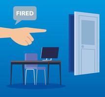 workplace with fired label in speech bubble vector illustration design