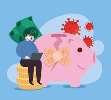 global financial recovery of market after covid 19, man with piggy bank and icons vector