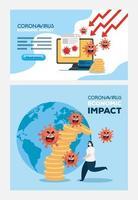 coronavirus 2019 ncov impacto economía global, covid 19 virus debilita la economía, impacto económico mundial covid 19 vector