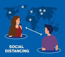 distanciamiento social, mantener la distancia en la sociedad pública para proteger a las personas del covid 19, pareja joven con mapa del mundo vector