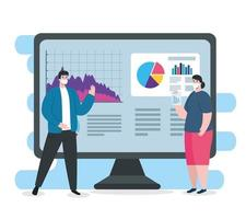 global financial recovery of market after covid 19, couple with computer and business graphics vector