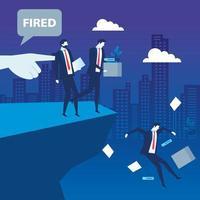 Empresarios tristes despedidos en precipicio, despido, desempleo, desempleo y concepto de reducción de empleo de empleados vector