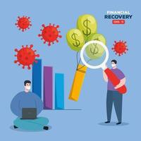 global financial recovery of market after covid 19, men with business icons vector