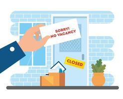 no vacancy, sorry, unemployment coronavirus covid 19, global crisis, facade company vector