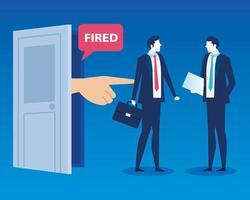Hombres de negocios triste despedido, despido, desempleo, desempleo y concepto de reducción de empleo de empleados vector