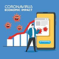 coronavirus 2019 ncov impact global economy, covid 19 virus make down economy, world economic impact covid 19, man with business statistic down vector