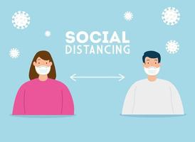 distanciamiento social, mantener la distancia en la sociedad pública para proteger a las personas del covid 19, pareja con máscara facial vector