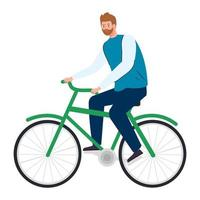 young man in bike on white background vector