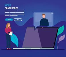couple in video conference for laptop