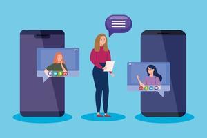 mujeres en videoconferencia por teléfono inteligente