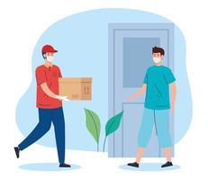 mensajería de entrega segura sin contacto a casa por covid 19 vector