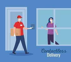 safe contactless delivery courier to home by covid 19 vector