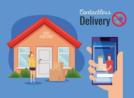safe contactless delivery courier to home by covid 19, stay home, order goods online by smartphone vector