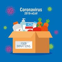 cardboard donation box food, social care, during coronavirus 2019 ncov