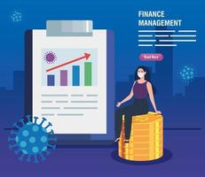 finance management recovery of market after covid 19, business woman with icons vector