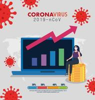 finance management recovery of market after covid 19, business woman with computer and infographic vector