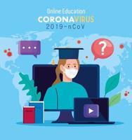 consejos de educación en línea para detener la propagación del coronavirus covid-19, aprendizaje en línea, mujer con computadora portátil y computadora vector