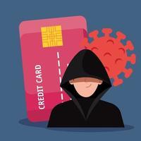 hacker con tarjeta de crédito durante la pandemia de covid 19 vector