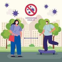 mantener la distancia, pareja usando mascarilla en el paisaje urbano, durante el covid 19