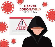 hacker con señal de advertencia de peligro durante la pandemia de covid 19 vector