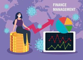 finance management recovery of market after covid 19, business woman with statistic graphic vector