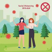 mujeres, distanciamiento social, mantener la distancia en la sociedad pública proteger del covid 19 vector
