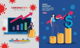 set scenes, finance management recovery of market after covid 19, business women with icons vector