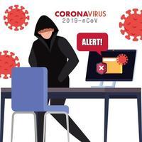 hacker y computadora portátil con señal de alerta durante la pandemia covid 19 vector