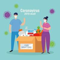 couple with cardboard donation box food, social care, during coronavirus 2019 ncov