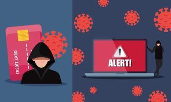 Establecer escenas, pirata informático con computadora portátil y tarjeta de crédito durante la pandemia de covid 19 vector