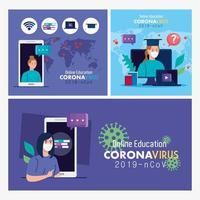 Establecer escenas, consejos de educación en línea para detener la propagación del coronavirus covid-19, aprender el concepto en línea vector