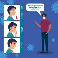 prevention, man afro using protective surgical mask for covid 19 vector