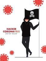 hacker y bandera con calavera durante la pandemia de covid 19 vector