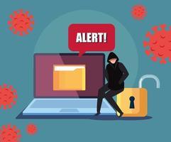 Hacker y computadora portátil con señal de alerta durante la pandemia de covid 19 vector