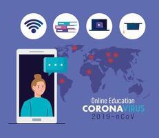 consejos de educación en línea para detener la propagación del coronavirus covid-19, aprendizaje en línea, estudiante mujer con teléfono inteligente vector
