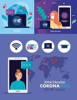 set scenes, online education to stop coronavirus covid-19 spreading, learning online concept vector