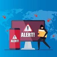 hacker con laptop y smartphone, señal de advertencia de peligro durante la pandemia de covid 19 vector