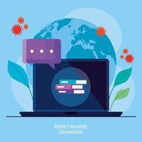 consejos de educación en línea para detener la propagación del coronavirus covid-19, aprendizaje en línea en una computadora portátil vector