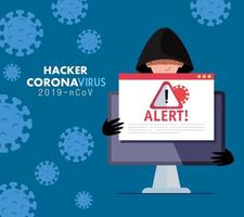 hacker and laptop with danger warning sign during covid 19 pandemic vector